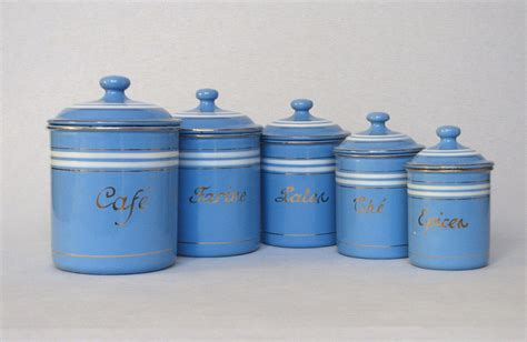 kitchen canisters blue set of sky blue french enamel graniteware kitchen