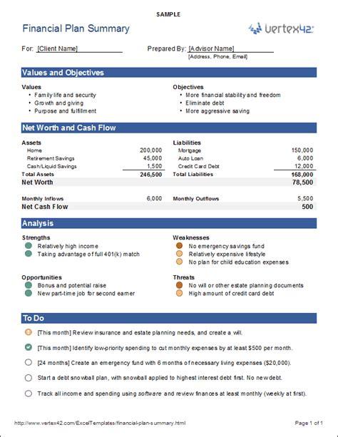 Download The Financial Plan Summary From Vertex42 Com Money Pinterest Template Financial Financial Summary Template