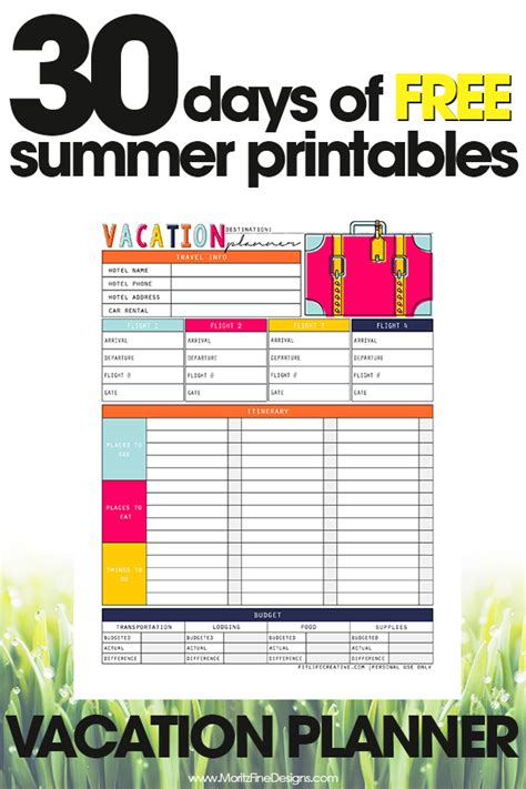 printable vacation planner free vacation planner free printable guide for vacation planning