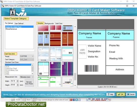 visitor card template software gate pass id cards maker software screenshots to generate