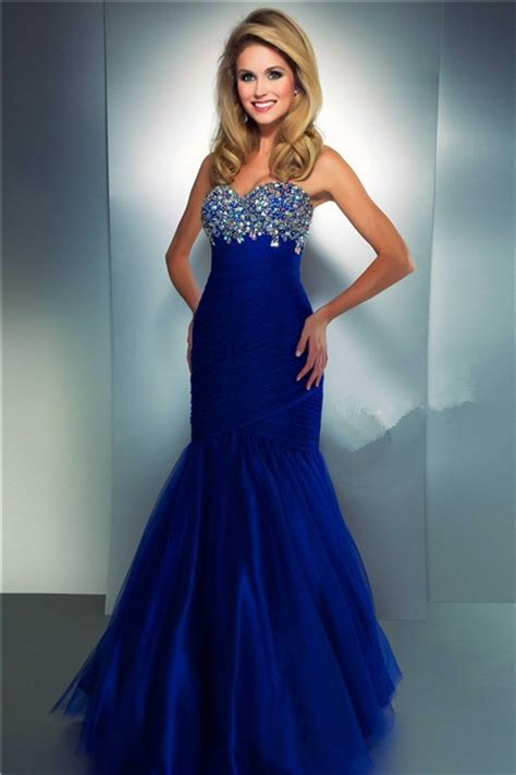 Longdress Serena Blue Df mermaid sweetheart royal blue tulle beaded prom dress with ruching