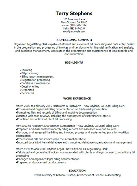 resume cover letter sles for billing and coding 1 billing clerk resume templates try them now