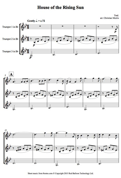 trumpet house music house of the rising sun sheet music for trumpet trio