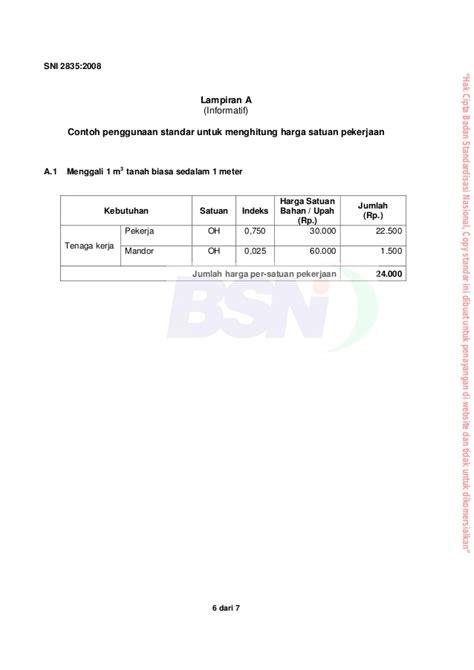 Harga Tanah Humus Per M3 by Sni 2835 2008 Tata Cara Perhitungan Harga Satuan Pekerjaan