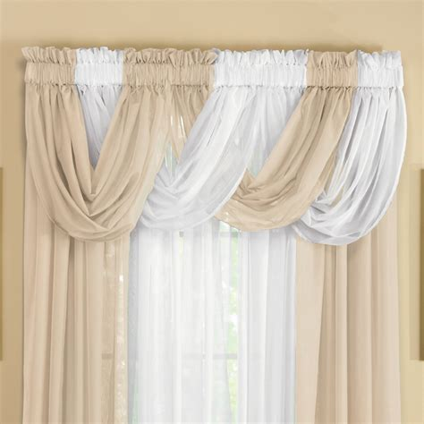 sheer curtains and valances sheer scoop valance curtains 2 pc by collections etc ebay
