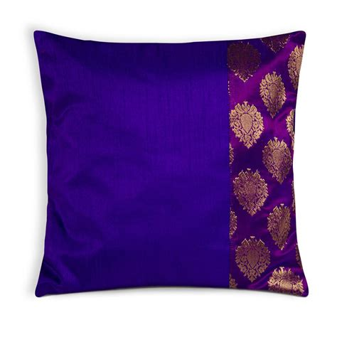 And Purple Pillows by Purple And Gold Banaras Silk Pillow Cover Desicrafts