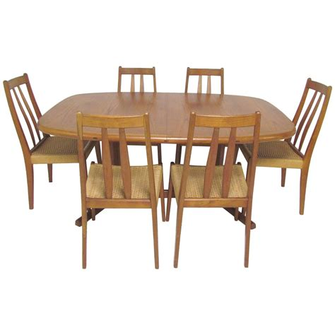 Danish Teak Dining Set Expandable Oval Table And Six Expandable Dining Room Table Sets