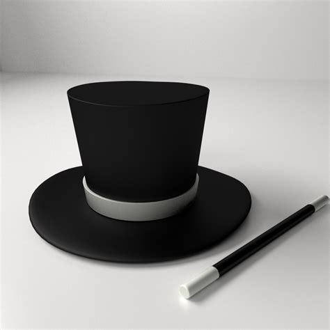 Magician Hat magician hat and wand 3d model 3ds fbx blend dae