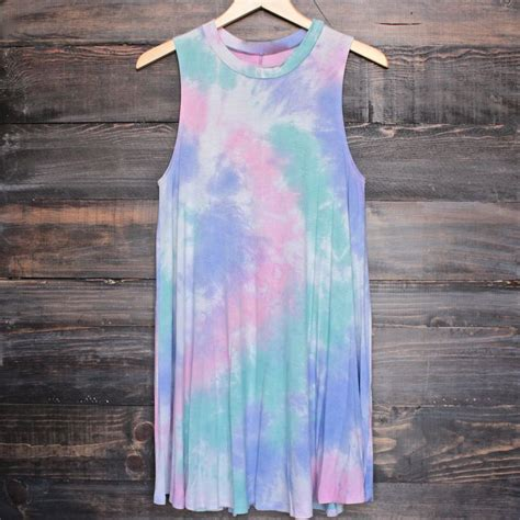 Summr Tie Dye T Shirt Shooting Kaos Tie Dye Tie Dye to dye for t shirt tank dress purple tie dye boat neck