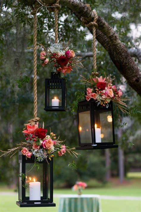 Pink Flower Decorated Hanging Lantern Wedding Decor