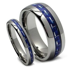 matching wedding band set tungsten rings blue carbon fiber