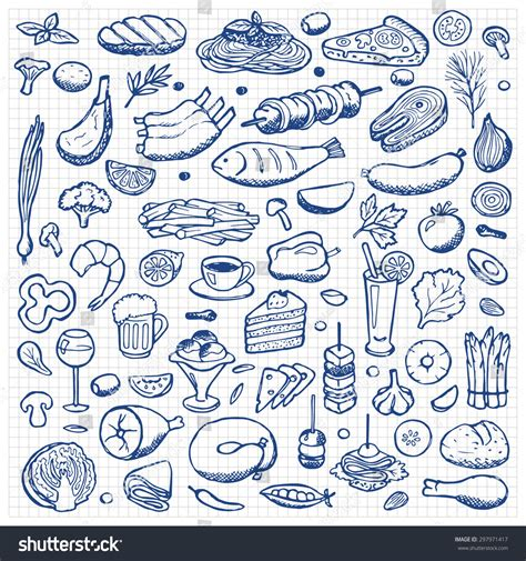 will doodle for food set doodle food drink stock vector 297971417