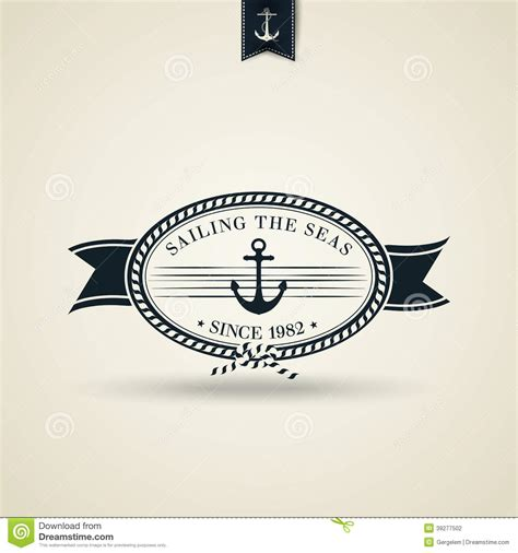 Classic Vintage Style Anchor vintage retro nautical badge with anchor stock vector