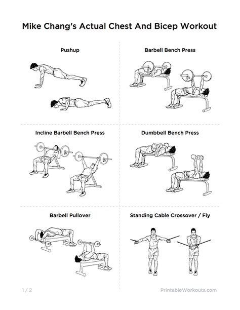 mike changs actual chest  bicep workout printable