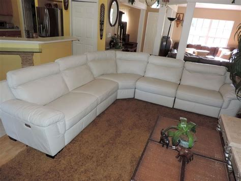 Natuzzi Julius 5pc Triple Electric Reclining Optic White White Leather Reclining Sectional Sofa