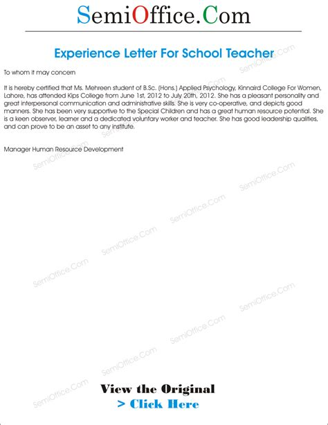 Experience Letter For Instructor Experience Letter For From School