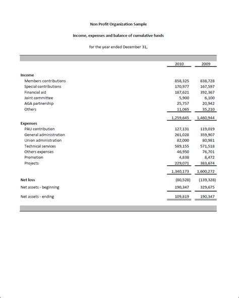 non profit financial statement template excel agi