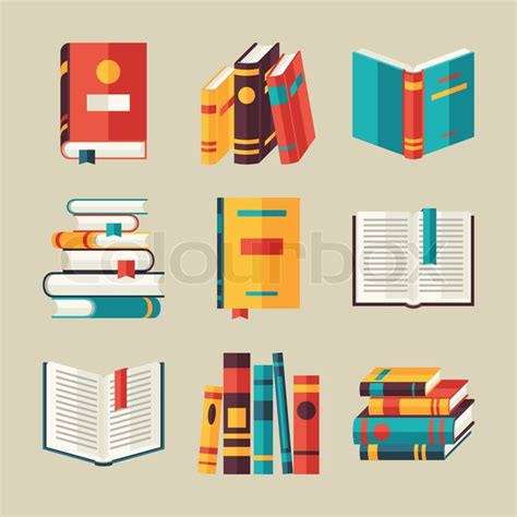 libro illustrations now illustration now set of book icons in flat design style stock vector colourbox