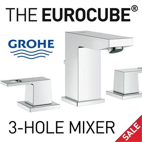 grohe eurocube bathroom faucet grohe 20370000 eurocube widespread 3 hole bathroom faucet
