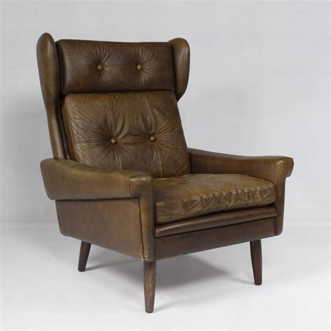 high back leather armchair svend skipper high back leather armchair denmark 1970s