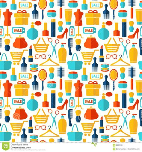 seamless pattern with shopping icons fashion shopping icons seamless vector background cartoon