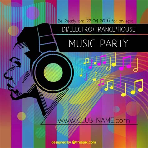 party music colorful music party poster vector free download
