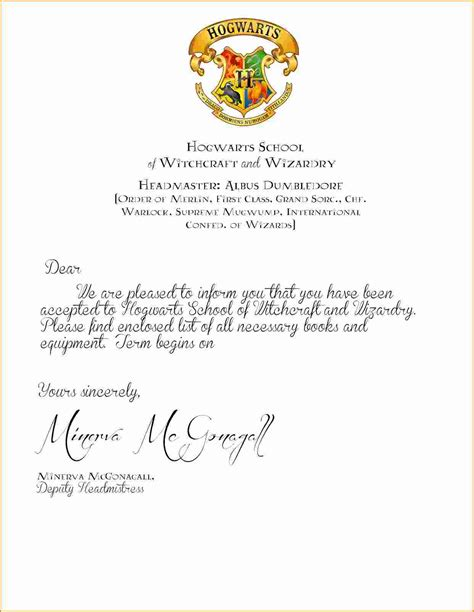 Blank Harry Potter Acceptance Letter 9 Harry Potter Acceptance Letter Printable Invoice Template