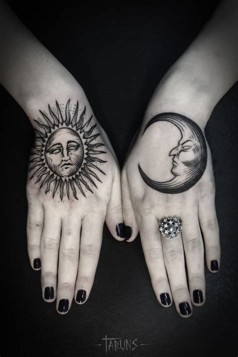 sun finger tattoo moon and sun tattooed