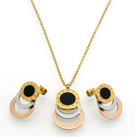 stainless steel jewelry consist 3 colour gold silver gold stainless steel