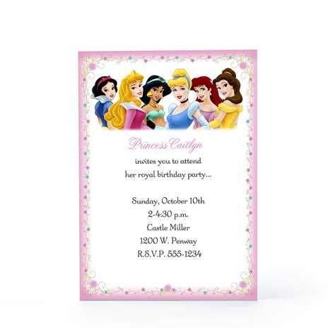 Disney Party Invitations Template Resume Builder Princess Birthday Invitation Templates Free