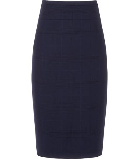 reiss tarasun fishtail pencil skirt in blue bright blue
