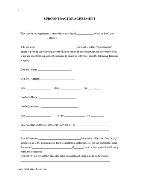 subcontractors agreement template image gallery subcontractor agreement