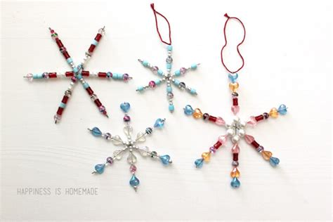 kids christmas craft beaded snowflake ornaments