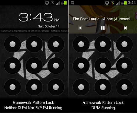 android pattern replace changing pattern lock clock widget with a running app