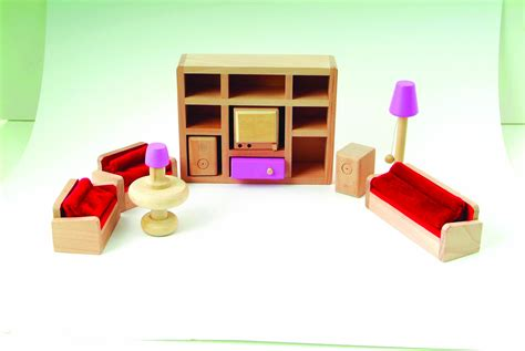 wooden dolls house and furniture le wooden toy dolls house with furniture