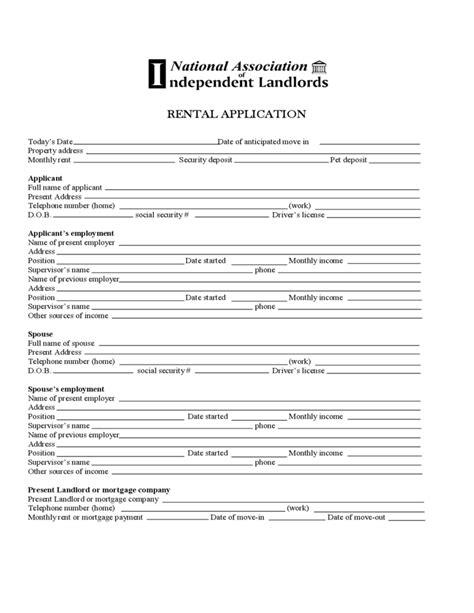 rental application minnesota standard rental application free