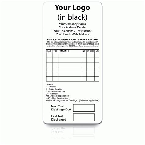 extinguisher inspection tag template buy personalised extinguisher maintenance labels