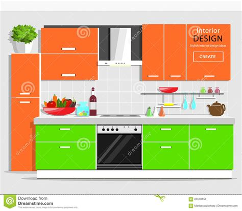 Modern Graphic Kitchen Interior Design Colorful Kitchen Kitchen Web Design