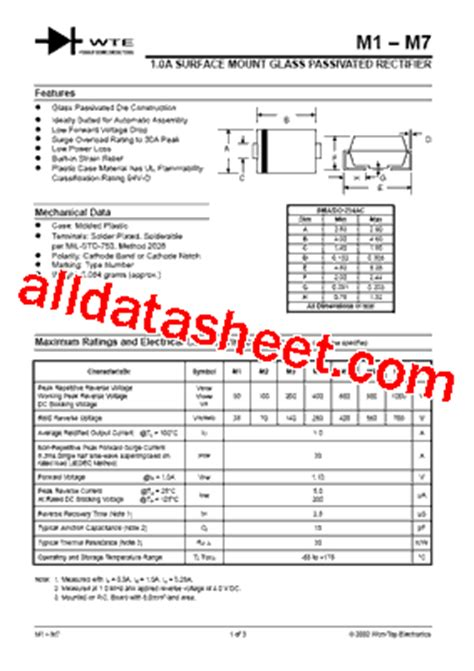 diode m7 m7 t1 fiche technique pdf won top electronics