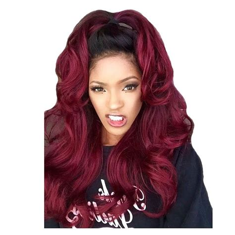 Long Hair Wavy Lace Front Synthetic Wig Dark Wine Red