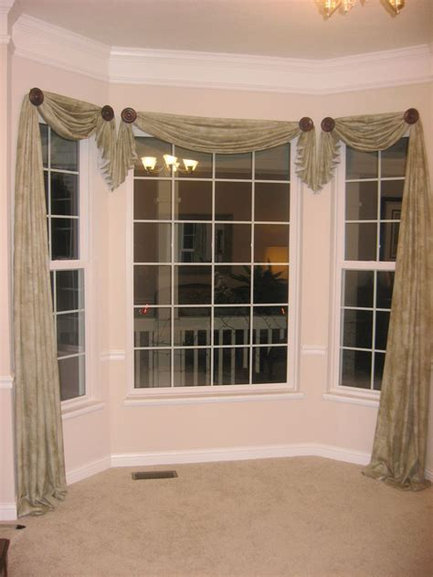 bay window curtain designs window scarf designs decisions pinterest