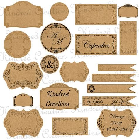 vintage paper craft vintage kraft paper labels monogram tags circle frame