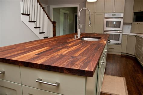 Butcher Block Kitchen Countertop by Custom Walnut Butcher Block Counter