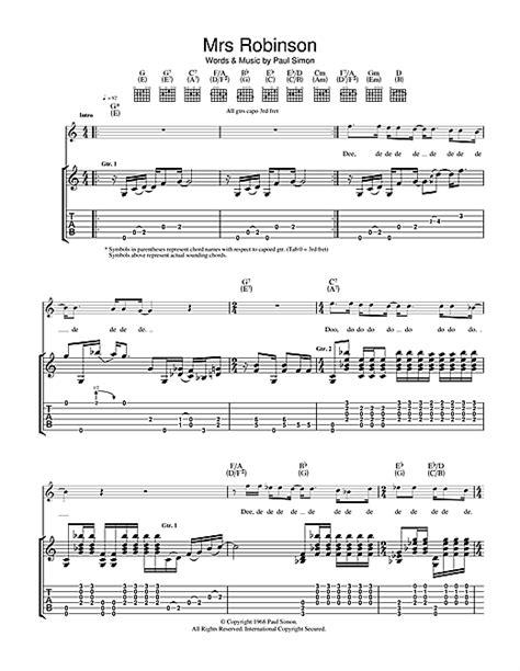 guitar tutorial mrs robinson mrs robinson tablature guitare par simon garfunkel