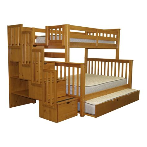 Bedz King Twin Over Full Bunk Bed With Trundle Reviews Bunk Bed With Trundle