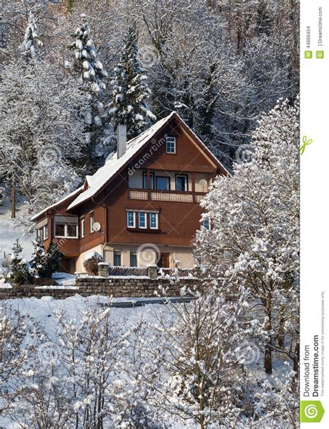 house in the snow rural house in the snow in sunshine stock photo image