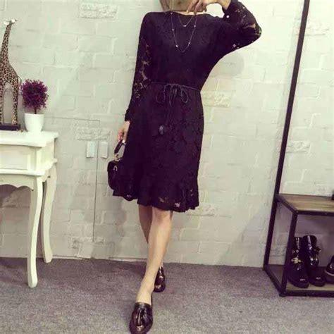 dress hitam motif bunga brokat  jual model terbaru