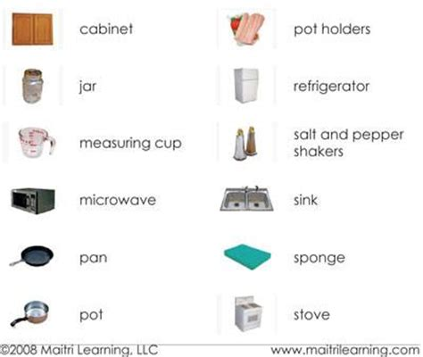 Hair Style Tools Name In Kitchen by Montessori Vocabulary Cards Maitri Learning