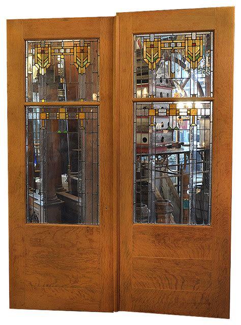 Craftsman Door Hardware by Consigned Oak Prairie Door And Hardware Set