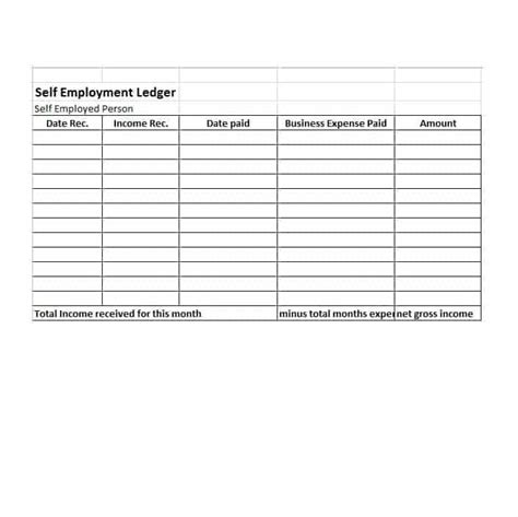 self employment ledger 40 free templates exles
